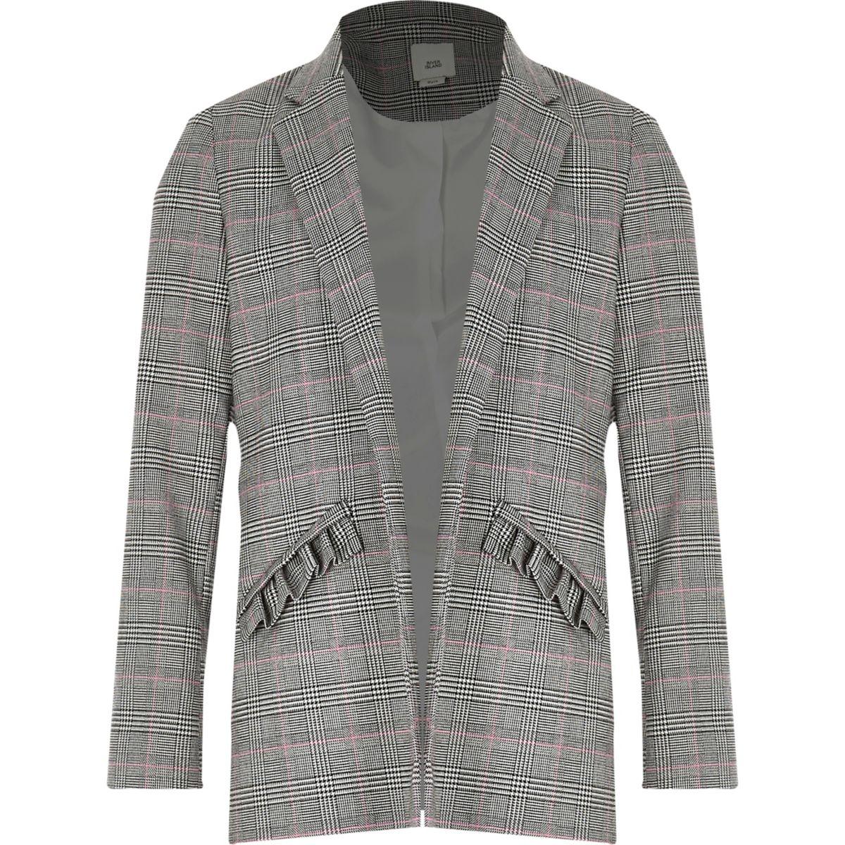 Girls check frill pocket blazer
