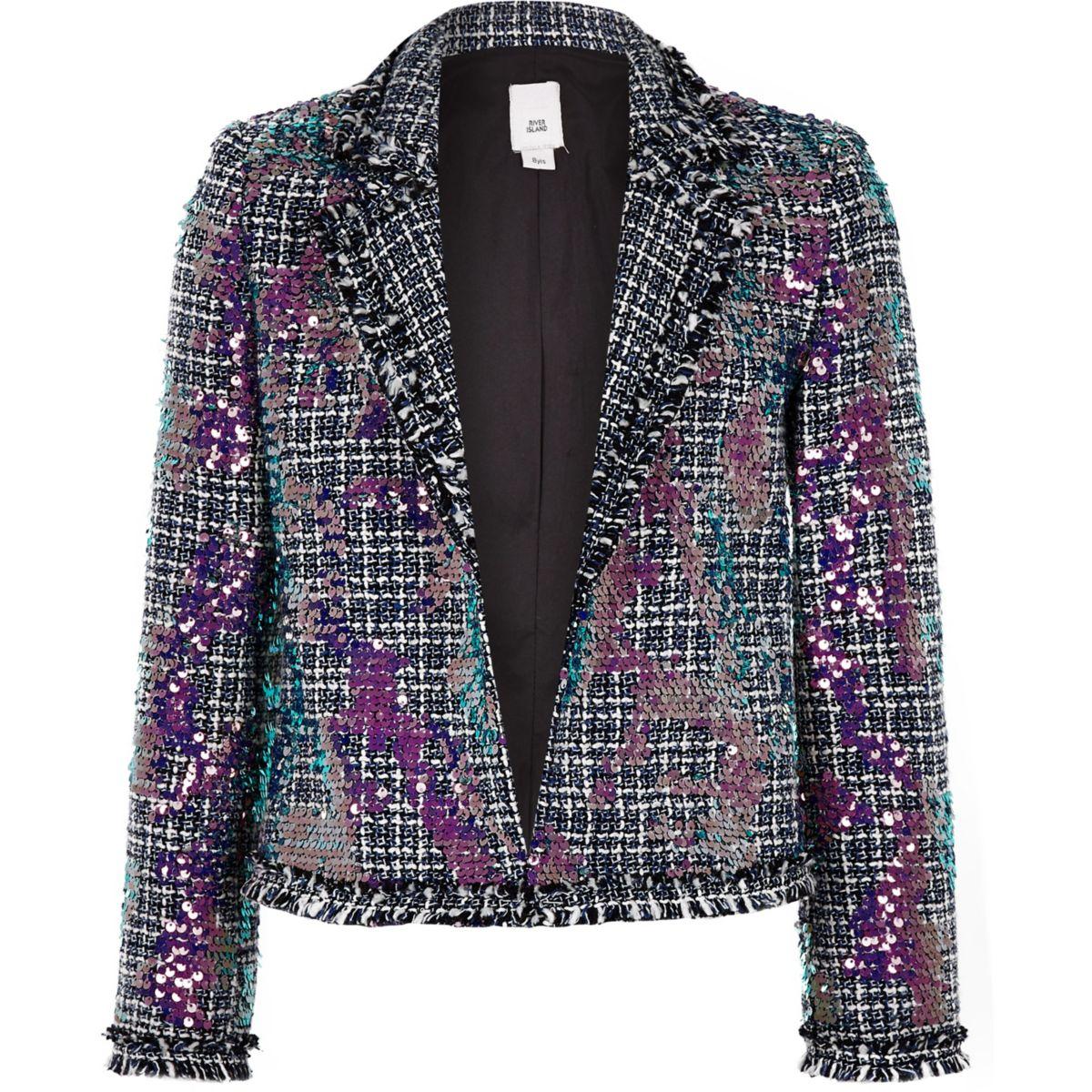 Girls blue boucle sequin blazer