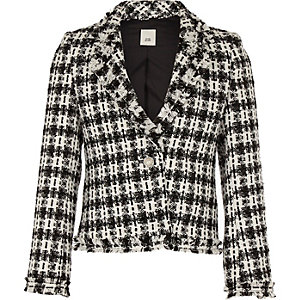 Girls white check boucle jacket