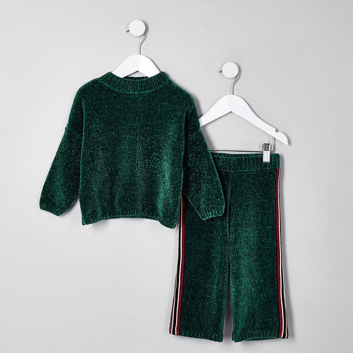 Mini girls green knit batwing sweater set