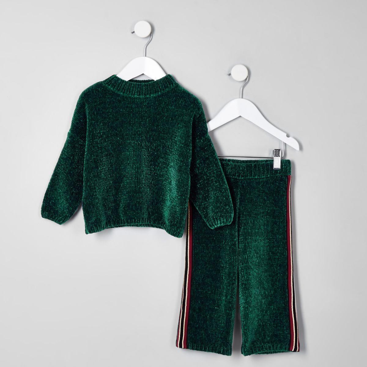 Mini girls green knit batwing jumper set