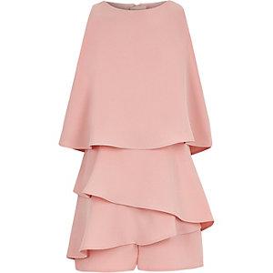 Combi-short rose avec jupe-short à volants pour fille