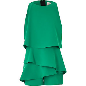 Girls green skort frill romper