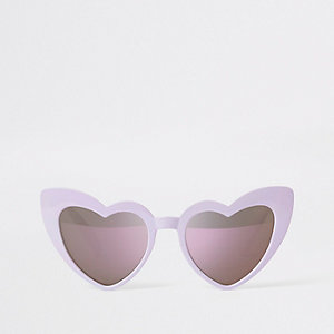 Girls purple heart cat eye sunglasses