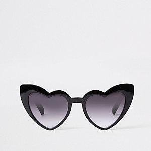 Lunettes de soleil papillon motif cœur noires pour fille