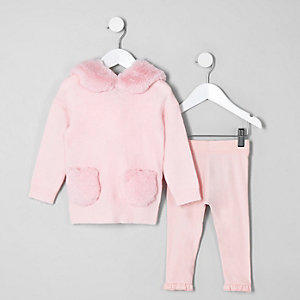 Mini girls pink faux fur hoodie outfit