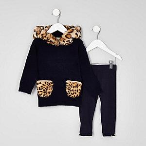Mini - Set marineblauwe hoodies met luipaardprint en imitatiebont voor meisjes