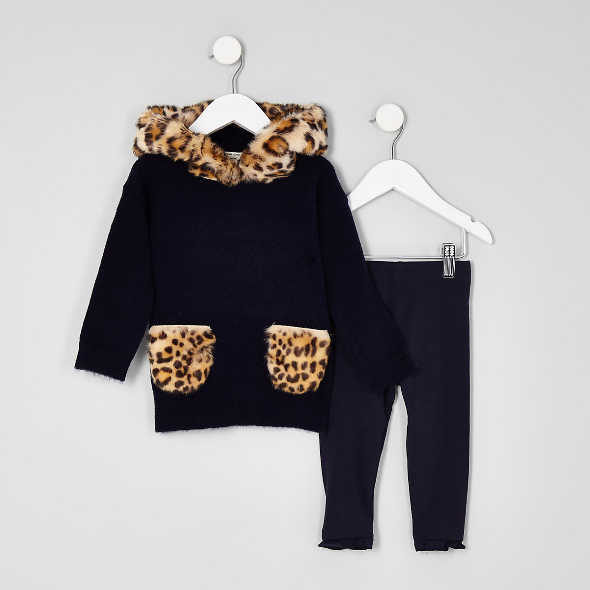Mini girls navy leopard print fur hoodie set