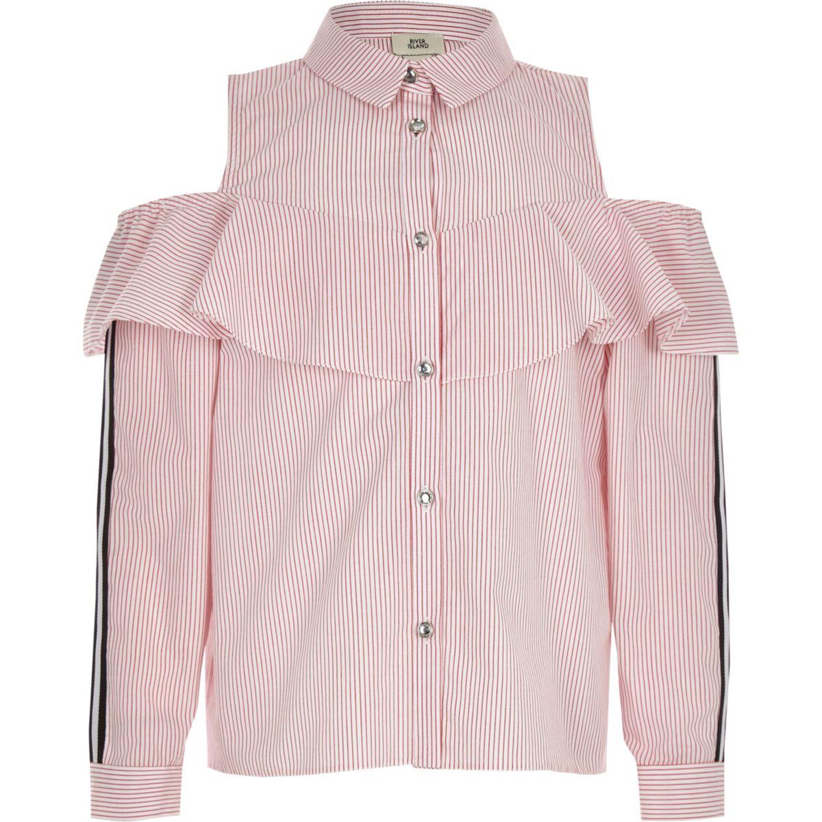 ffaa3767af9 Girls red stripe cold shoulder shirt - Shirts - Tops - girls