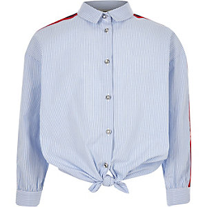 Girls blue stripe tie front tape shirt