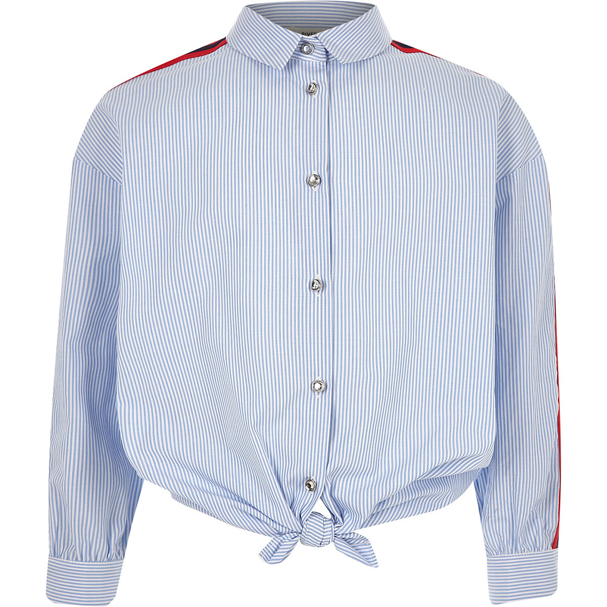 Girls blue stripe tie front tape shirt