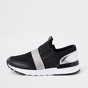 Girls black metallic runner trainers