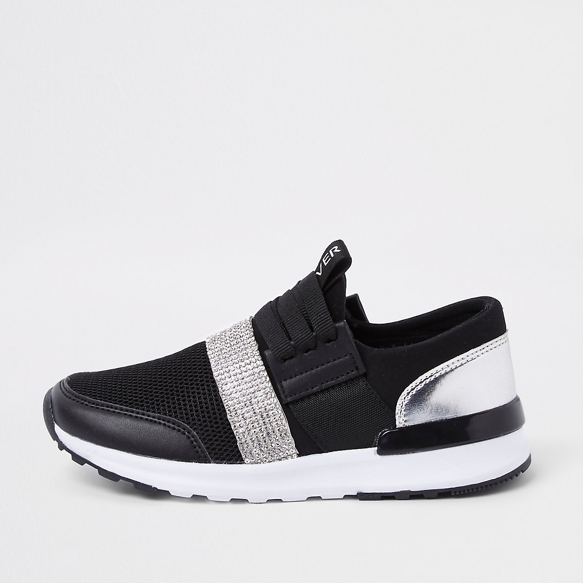 Girls black metallic runner sneakers