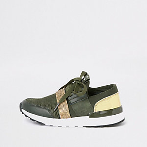 Girls khaki green metallic runner sneakers