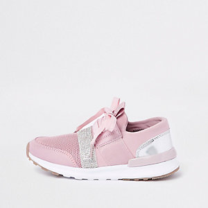 Girls pink metallic runner trainers