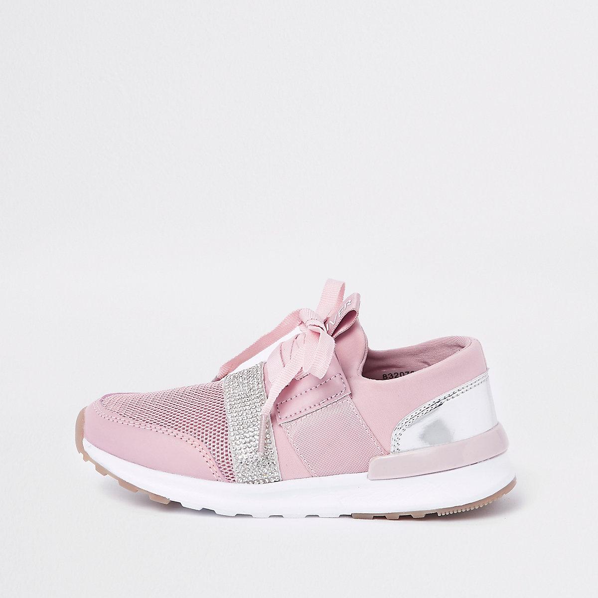 Girls pink metallic runner sneakers