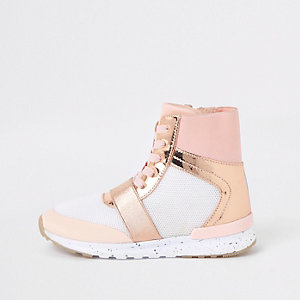 Girls rose gold metallic high top sneakers