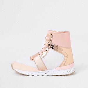 Roségoudkleurige metallic hoge sneakers voor meisjes