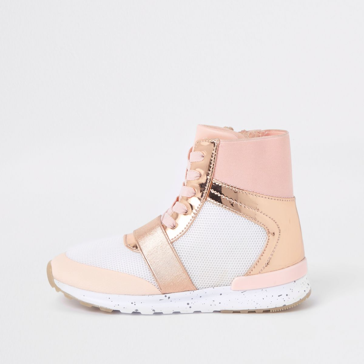Girls rose gold metallic high top trainers