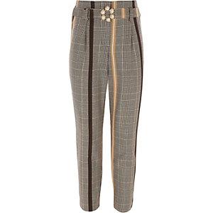 Gele geruite broek voor meisjes