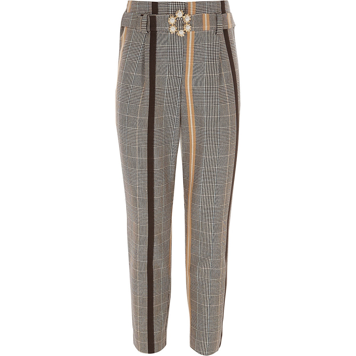 Girls yellow check trousers