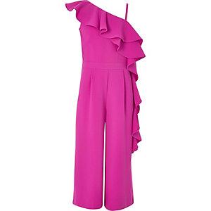 Pinker, asymmetrischer Overall mit Rüschen