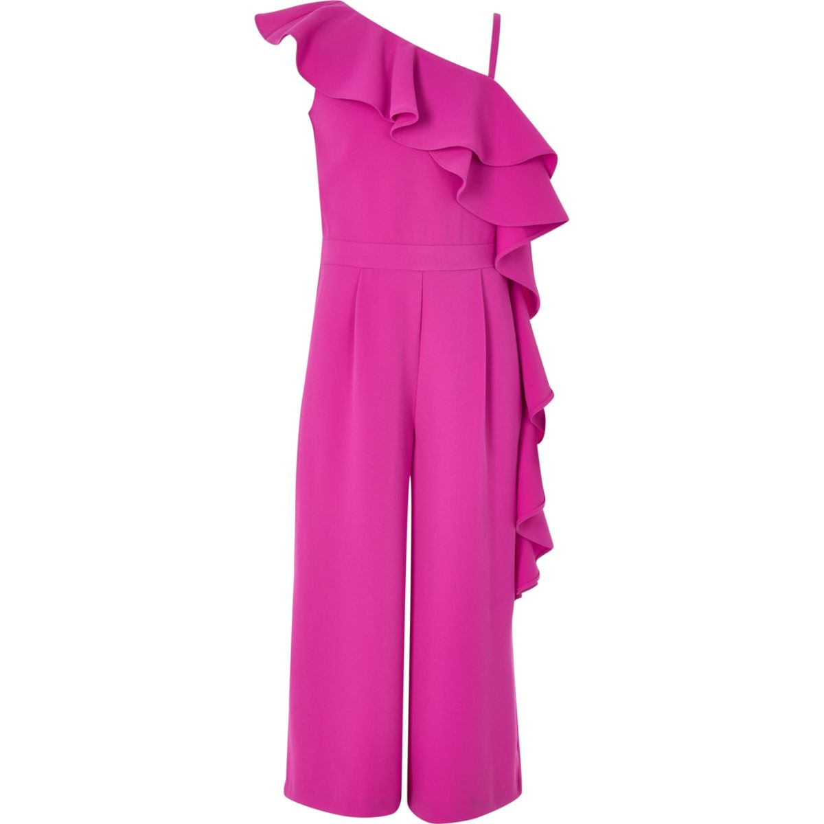 Girls pink asymmetric frill jumpsuit