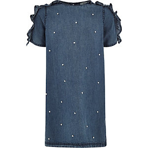Girls denim pearl ruffle sleeve T-shirt dress