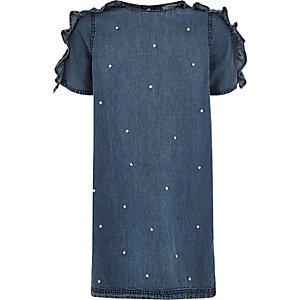 Robe t-shirt en jean avec manches à volants et perles pour fille