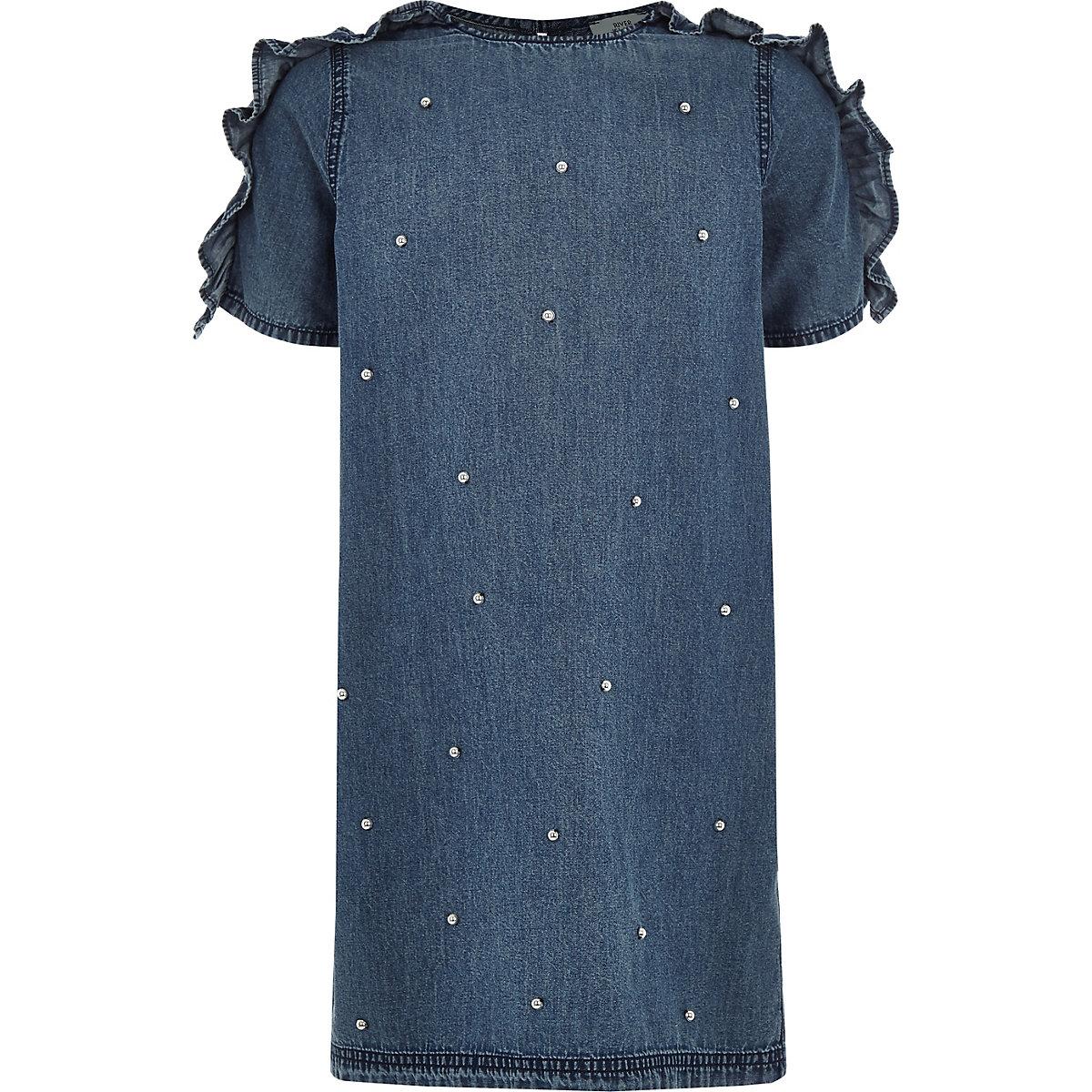 Girls denim pearl ruffle sleeve T-shirt dress