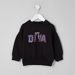 Mini girls black 'Diva' sequin sweatshirt