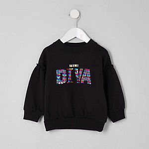 Mini girls black 'Diva' sequin sweatshirt