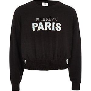 Girls black 'Paris' sequin jumper