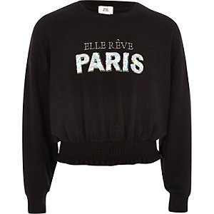 Girls black 'Paris' sequin sweater