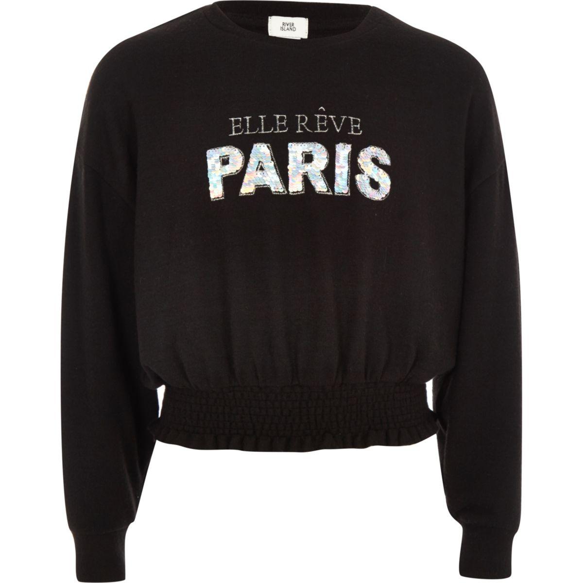 Girls black 'Paris' sequin sweater