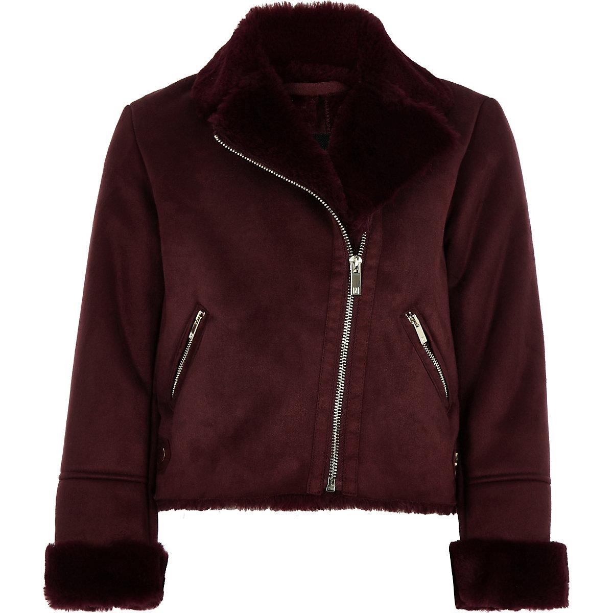 Girls burgundy faux suede fur biker jacket