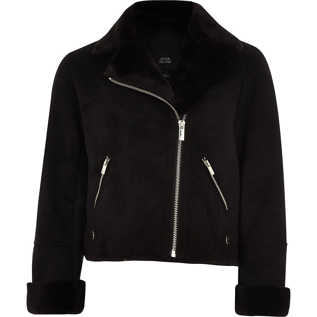 Girls black faux suede fur biker jacket