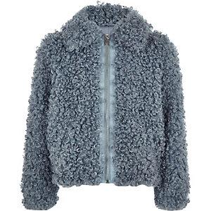 Blaue Jacke mit Reißverschluss