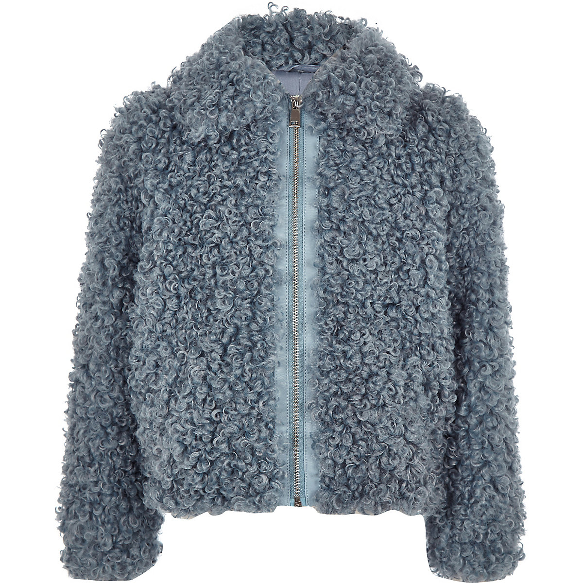 Girls blue faux fur zip up jacket