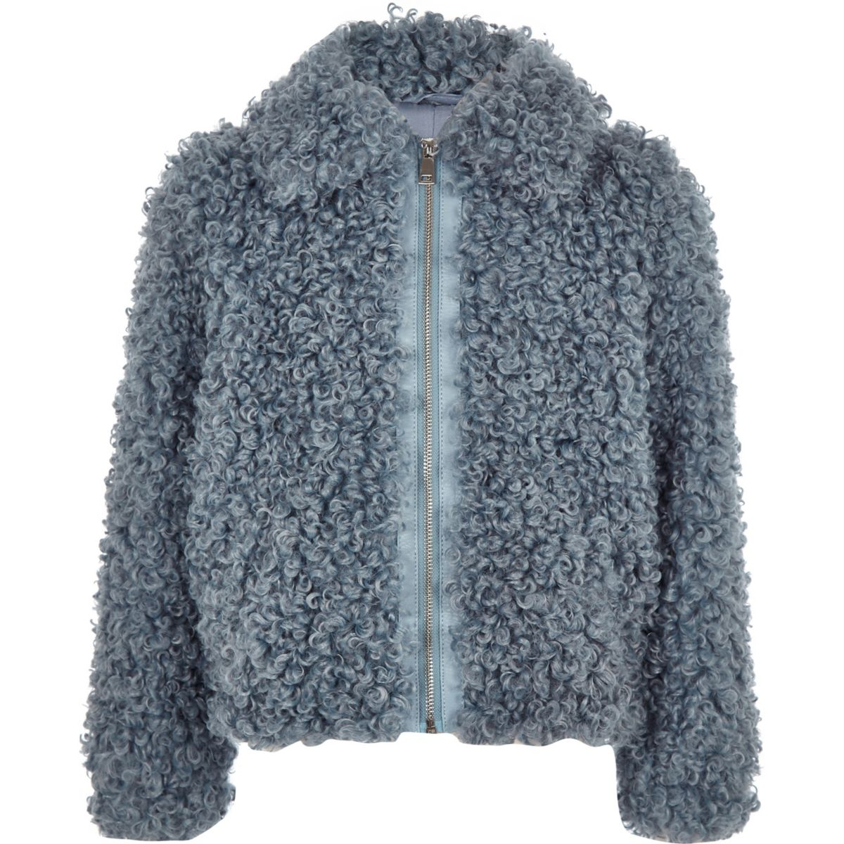 Girls blue faux fur zip up jacket
