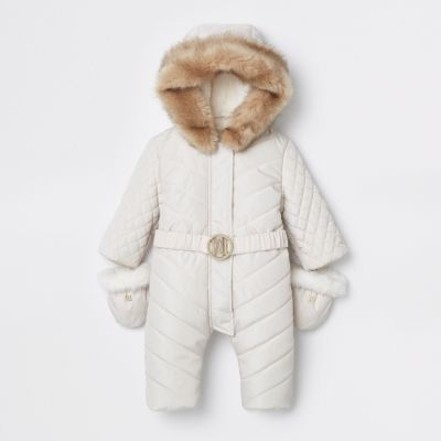 Baby Cream Ri Padded Snowsuit by River Island