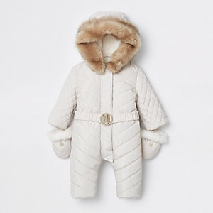 Crème gewatteerd sneeuwpak met RI-logo voor baby's
