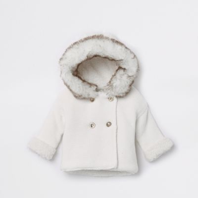 Baby White Faux Fur Knit Hooded Cardigan by River Island