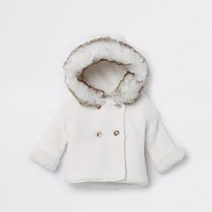 Wit gebreid vest met imitatiebont en capuchon voor baby's