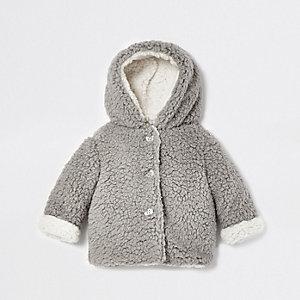 Veste imitation peau de mouton grise pour bébé