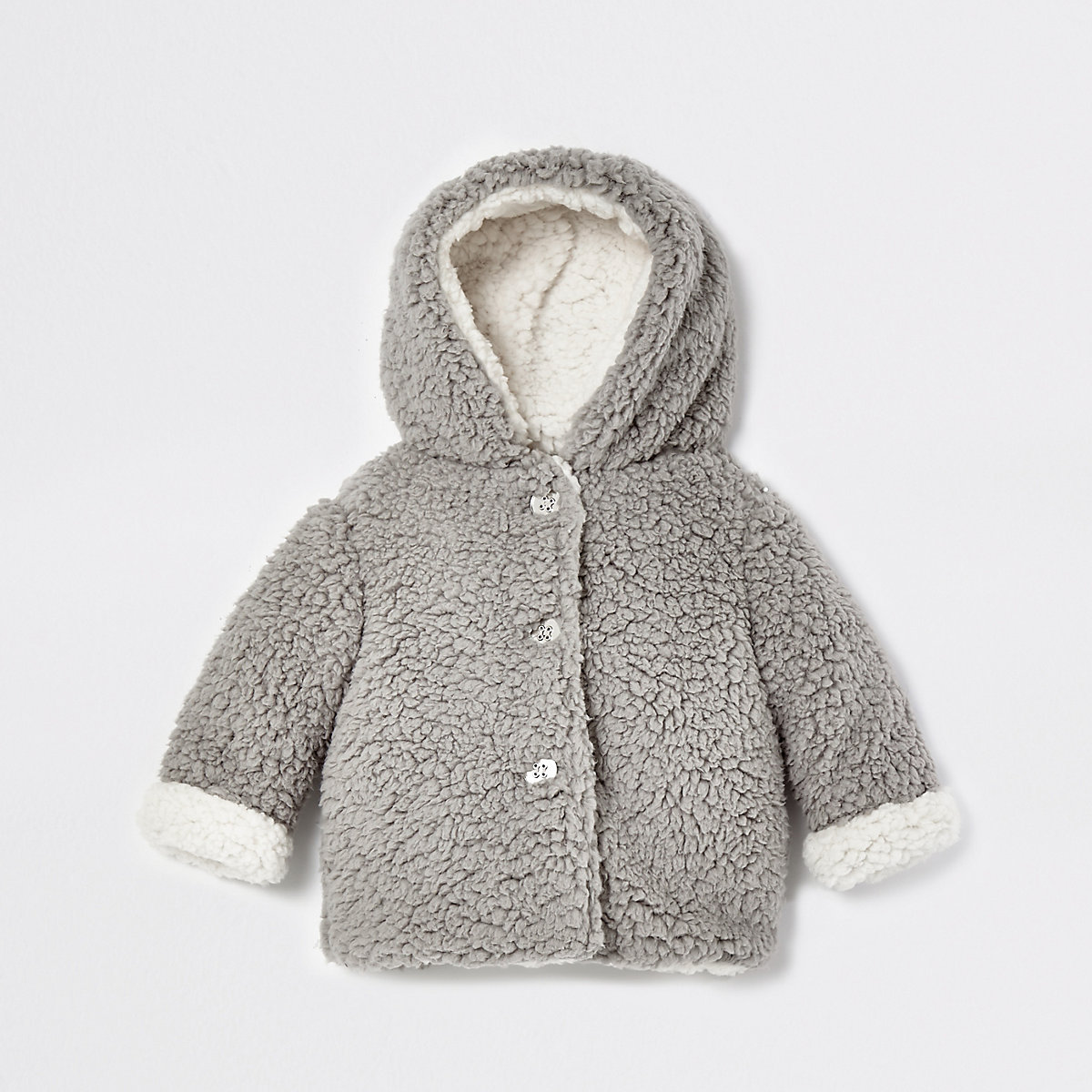 Baby grey borg fleece jacket