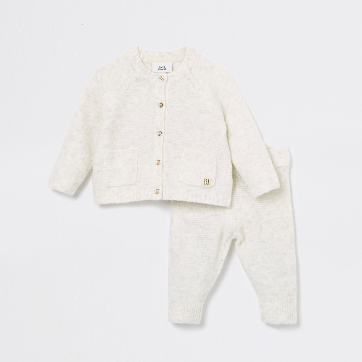 Baby cream yarn knitted cardigan outfit