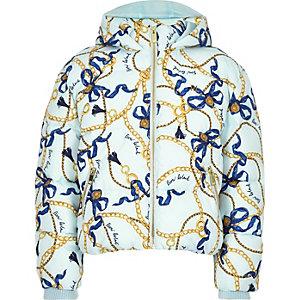 Blauw gewatteerd jack met capuchon en kettingprint voor meisjes
