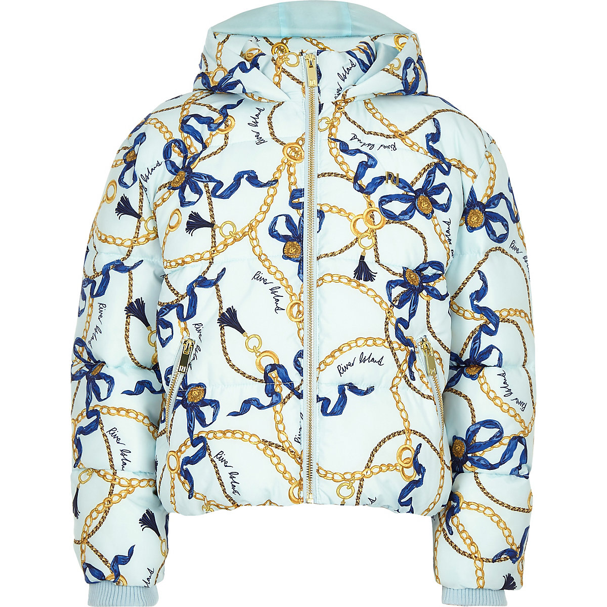 Girls blue chain print hooded puffer jacket