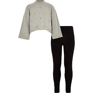 Girls grey embellished sweatshirt outfit